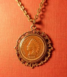 coin jewelry necklace antique 1906 cent with chain by thenallyboys, $12.00