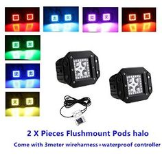What's the new version led Flush mount Color shift pods halo included:  1x pair Flushmount led Square cubes with Halos  1x 24 key wireless remote with waterproof controller  1x 3 meters wireharness  We are producing different size of the led bar halo ring as well ,such as 52inch 300w ,42inch 240w ,32inch 180w and 22inch 120w etc..The latest version of the led light bar halo and led pods halo ColorSHIFT Halos features is that both of leds and halo ring can be controlled by one remote. IP 68…