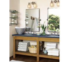 powder room | Mercer Triple Glass Shelf, Chrome finish | pottery barn $200