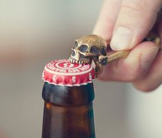 Opening your bottles will be nothing less than a royal encounter once you use this Bronze Skull Bottle Opener by Jac Zagoory.