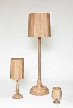 """A series of solid oak sculptures commemorating familiar forms. No-name classics. Comes also as a """"lit up light"""". External spot on request."""