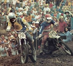 - The late Jim West leads the late Rich Eierstadt during the 250 support race. Jim West, Mx Racing, Honda, Motocross Riders, Vintage Motocross, Vintage Toys, Old School, Bike, Classic
