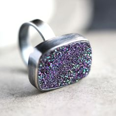 Purple Druzy Ring Violet Purple Drusy Oxidized by TheSlyFox, $118.00
