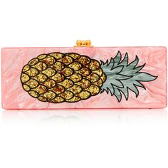 Edie Parker M'O Exclusive Flavia Acrylic Pineapple Clutch ($1,495) ❤ liked on Polyvore featuring bags, handbags, clutches, pink, pink handbags, special occasion handbags, pink purse, vintage purses and acrylic clutches