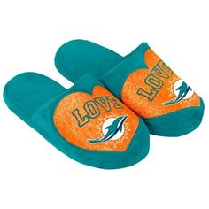 91dc6a8314b Miami Dolphins Women s Love Glitter Slide Slippers
