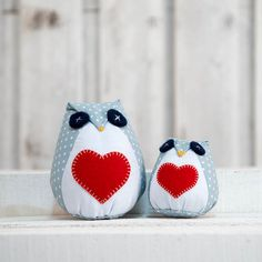 Plushie owls light blue with heart blue red stuffed by cucicreando, €9.00