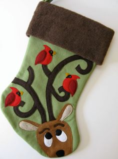Personalized Christmas Stocking, Perfect Perch by heartfeltstockings, $80.00 (birds, reindeer, caribou, northern cardinals, antlers)