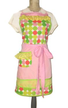 Pastel Dot Full Apron with Triple Skirt - Adult