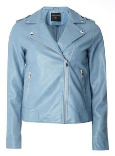 Veste de motard en simili cuir bleu clair - Dorothy Perkins France