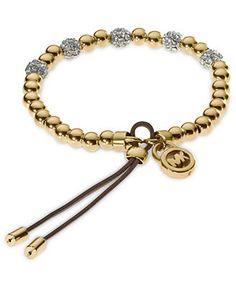 Michael Kors Gold-Tone Bead Fireball Stretch Bracelet