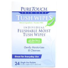 Puretouch Tush Wipes Flushable - 24 Wipes, Multicolor