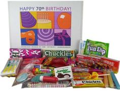70th Birthday Basket Box of Retro Candy $34.95