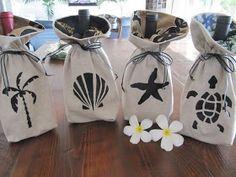 Coastal Decor, Beach, Nautical Decor, DIY Decorating, Crafts, Shopping | Completely Coastal Blog: Make Wine Gift Bags with Sea Life Stencils
