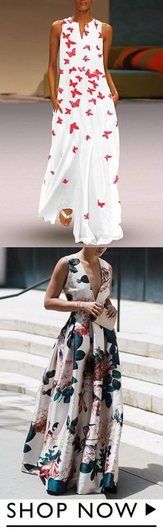 Printed maxi dress with V-neck – Casual Dress Outfits Dress Skirt, Dress Up, Clothing Sites, Look Cool, The Fresh, Pretty Dresses, Spring Summer Fashion, Fashion Dresses, Cute Outfits