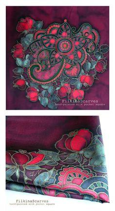 Mens Silk Pocket Square Bordeaux RED Roses silk hanky Mandala
