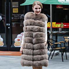 S-XXXL 7styles real fox Fur Vest Coat Woman Full Pelt Thick Warm Fashion Genuine Fur Solid Female natural fox Fur long Jacket