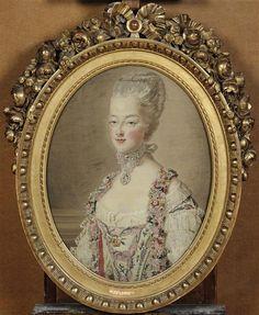 Portrait de Marie-Antoinette as dauphine in 1773, by Cozette Michel-Henri (1744-1822)  (d'après les tableaux de François Hubert Drouais, exposé au salon de 1773 :via Réunion des musées nationaux)