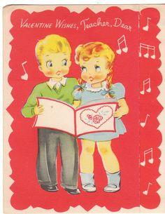 Vintage Valentine Card Children Sing for Teacher 1940's to 1950's