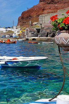 Little boats at Ammoudi, Santorini, Greece