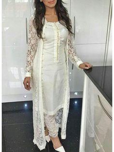 New cream color designer party wear salwar suit. Salwar Designs, Kurti Designs Party Wear, Blouse Designs, Indian Designer Outfits, Designer Dresses, Designer Wear, Pakistani Designer Suits, Designer Sarees, Party Kleidung
