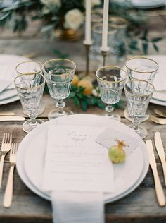 A lovely gold-accented tablescape for a destination wedding in Italy.