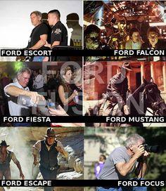 Harrisson Ford vs. 7 Ford cars