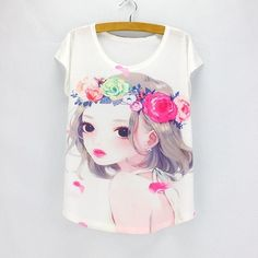 Dandelion print women clothes 2016 summer tees girls t-shirts short sleeve O-neck top tees low price hot sale