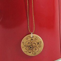 Wood flower Pendant  wood pyrography  wooden jewelry by bkinspired, $5.00