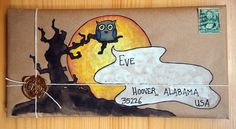 This one is my favourite - little owl Halloween mail art