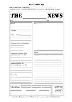 free tag template | Newspaper Front Page Template Doc