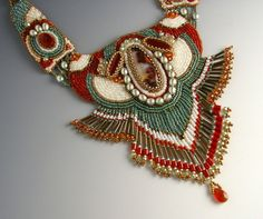 bead embroidery | Carnelian, plume agate, pearl and seed bead embroidery neck piece.