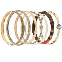 Iosselliani Elegua set of bracelets (€380) ❤ liked on Polyvore featuring jewelry, bracelets, metallic, bangle jewelry, metallic jewelry, stacked bangles, bracelets bangle and iosselliani jewelry