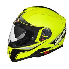 The openable helmets are undoubtedly among the most used by motorcyclists throughout the world and in SMK range could not thus fail to Glide, full-face helmet with chin guard opening. Glide has been designed and built to meet the latest needs of motorcyclists convenience, without neglecting the safety, comfort and styling typical of SMK products. The outer shell is printed in EIRT (Energy Impact Resistant Thermoplastic), a thermoplastic resin is particularly resistant to shock, and has an ae... Modular Motorcycle Helmets, Motorcycle Riding Gear, Full Face Motorcycle Helmets, Motorcycle Racers, Open Face Helmets, Riding Jacket, Riding Boots, Half Gloves, Indian Road