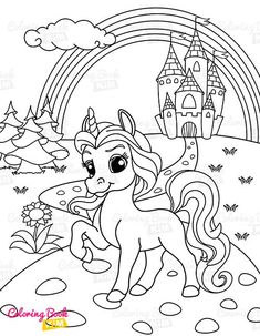 A sweet coloring book full of merry and funny unicorns. Fun adventures of unicorns that meet various animals, fly balloons, dance at the disco, meet fairies and jump on a rainbow. Unicorn Coloring Pages, Coloring Pages For Kids, Coloring Books, Castle Coloring Page, Unicorn Drawing, Under The Rainbow, Happy Animals, Amazing Adventures, Balloons