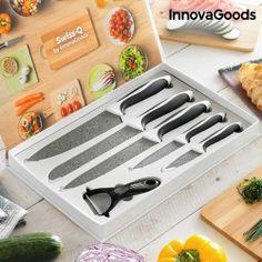 InnovaGoods Swiss·Q Stone Knives & Peeler Set Pieces) Knife Block Set, Knife Sets, Knife Holder, Stone Kitchen, Professional Kitchen, Dishwasher Detergent, Quality Kitchens, Soft Towels, Kitchen Knives