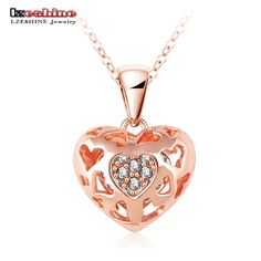 LZESHINE Summer Necklace 2016 Fashion Pendant Necklace  Rose Gold/Silver Color Heart Necklace With Austrian Crystal NL0010 #Affiliate