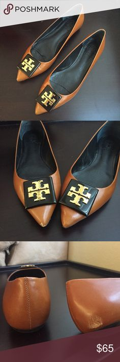 """Tory Burch Claire signature pointy flats Tory Burch """"Claire"""" signature pointy flats in luggage color with black and gold square resin logo at toe. Size 8. Leather upper and lining with rubber sole and slightly raised rubber heel. Some minor scuffs at tips of toes and a scuff on back of R heel (see photos). Tory Burch Shoes Flats & Loafers"""