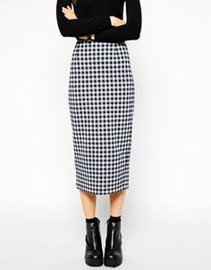 Enlarge ASOS Mini Check Mid Length Pencil Skirt