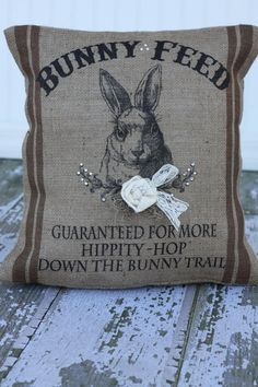 Bunny Feed Sack Burlap Easter Pillow Cover...whew, that's a mouthful. But, it's cute.