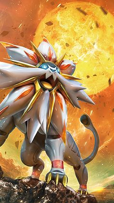 It's Solgaleo, one of the Light trio along with Lunala and Necrozma. It's the Sunne Pokémon that evolves from Cosmoem. Known as the Beast That Devours the Sun, it has been honored as an emissary of the sun. Its body is capable of holding a vast amount of energy and glows when active. The intense light it radiates can make nighttime look like midday. It can create Ultra Wormholes to travel to and from Ultra Space. Along with its counterpart Lunala, it can create Cosmog.
