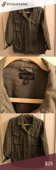 """Topshop Utility Jacket. Size 6 Topshop Utility Jacket. Size 6. Great used condition- no flaws as it's supposed to look a little """"worn"""" with distressing. Topshop Jackets & Coats"""