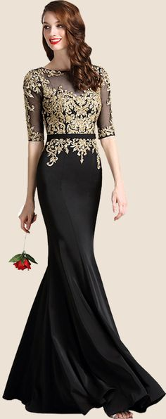 Black Formal Gown with Illusion Sweetheart Neckline #eDressit