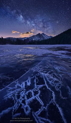 Ice Constellation, by Mei Xu... #lake #winter #ice #nightscape #icecrack #BearLake #MilkyWay #Constellation #LongsPeak