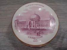 PINK TRANSFER PRINTED PORCELAIN POT LID & BASE - INTERNATIONAL EXHIBITION 1862