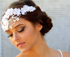 The Crystal and Vintage Floral Halo- Cecilia