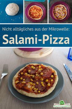 Salami-Pizza!   #salamipizza #pizza #ausdermikrowelle #mikrowellenkochen #mikrowellenrezept #mikrowelle #kochen #backen #hauptspeise #rezept Pizza Salami, Cooking, Microwave