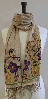 LoulaBelle Tan Scarf ~ Embroidery 72x18 inches Linen