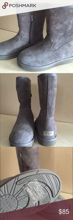 NEW Ugg Pierce grey! NEW without box, never worn comfy boots! They are really nice and different with the medium size zipper on the side. UGG Shoes Winter & Rain Boots