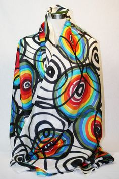 Natural silk hand painted shawl, one of a kind. Textiles, Photo Art, Modern Design, Hand Painted, Shirt Dress, Natural, Mens Tops, Instagram, Women