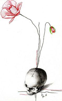 dessin pour tatouage de crane et coquelicot